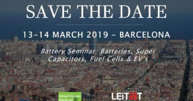 Save the date! 13-14 March 2019: Battery Seminar organized by Shmuel De-Leon Energy and Leitat